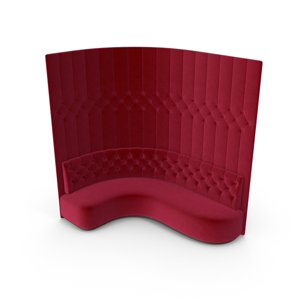 Banquette: Red Velevet Tall Corner Tufted Club Sofa PNG & PSD Images
