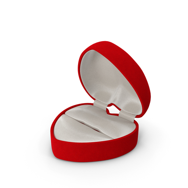 Red Velvet Heart Shaped Empty Gift Box PNG & PSD Images