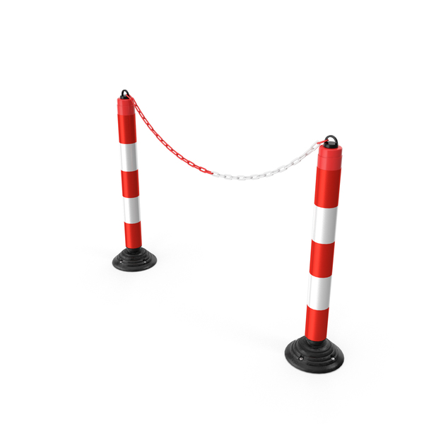 Bollard: Red White Chain Posts PNG & PSD Images