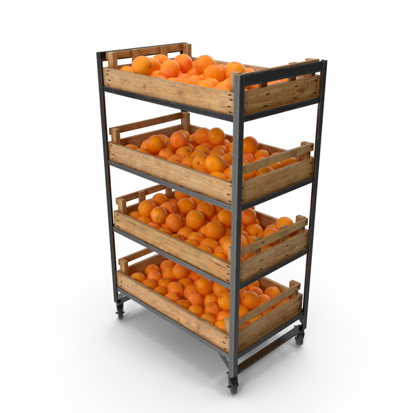 Retail Shelf with Oranges PNG & PSD Images