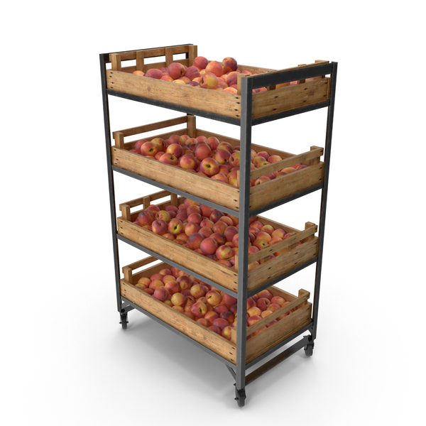 Peach: Retail Shelf With Peaches PNG & PSD Images