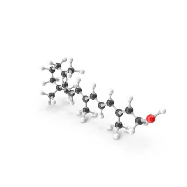Retinol (Vitamin A1) Molecular Model PNG & PSD Images