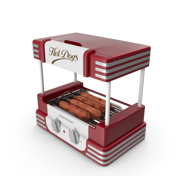 Retro Hot Dog Roller Grill with Sausages PNG & PSD Images