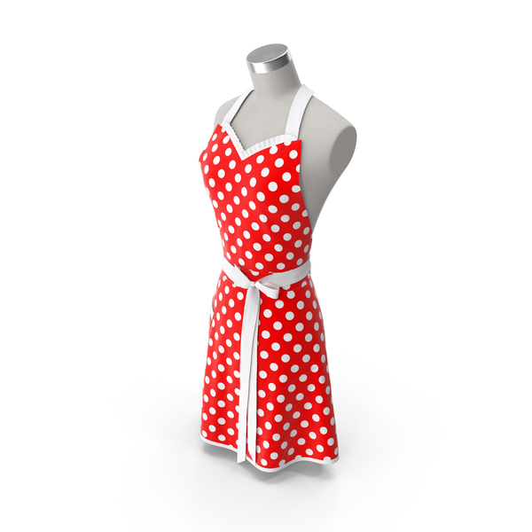 Female: Retro Kitchen Apron on Mannequin PNG & PSD Images