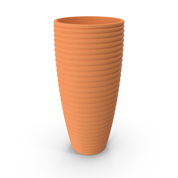 Ridged Terracotta Pot PNG & PSD Images