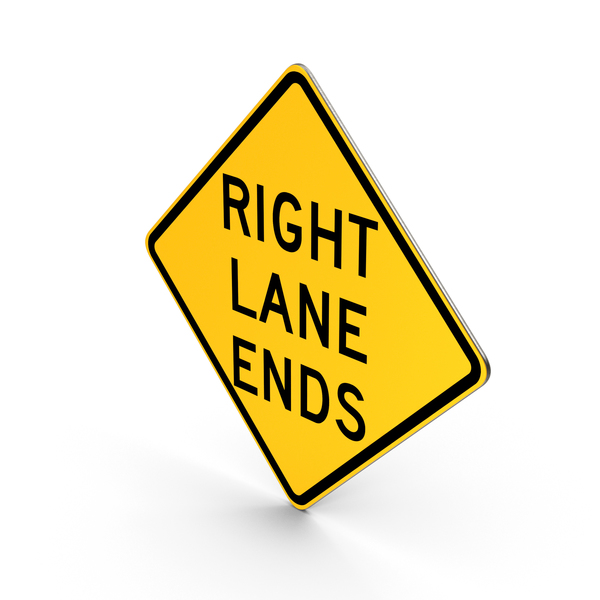 Right Lane Ends Road Sign PNG & PSD Images