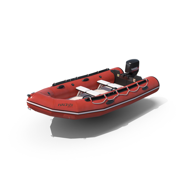 Rigid-Hulled Inflatable Boat with Motor PNG & PSD Images