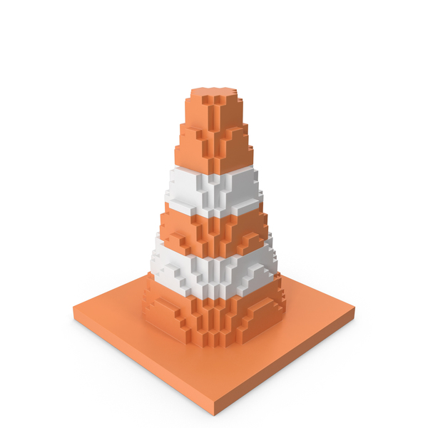 Traffic Cones: Road Cone Striped Voxelated PNG & PSD Images