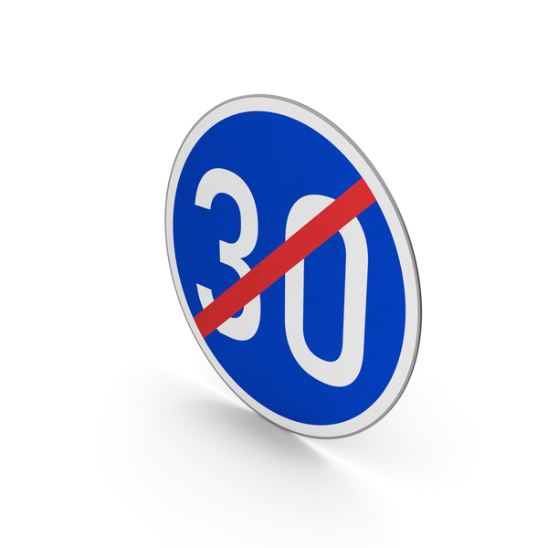 Road Sign End Minimum Speed Limit 30 PNG & PSD Images