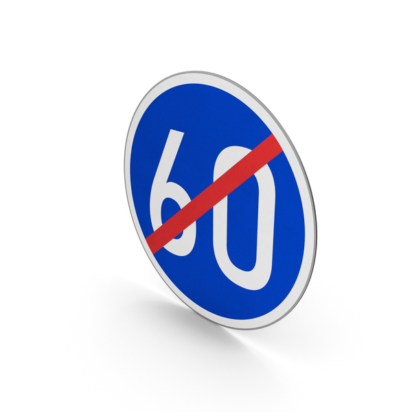 Road Sign End Minimum Speed Limit 60 PNG & PSD Images