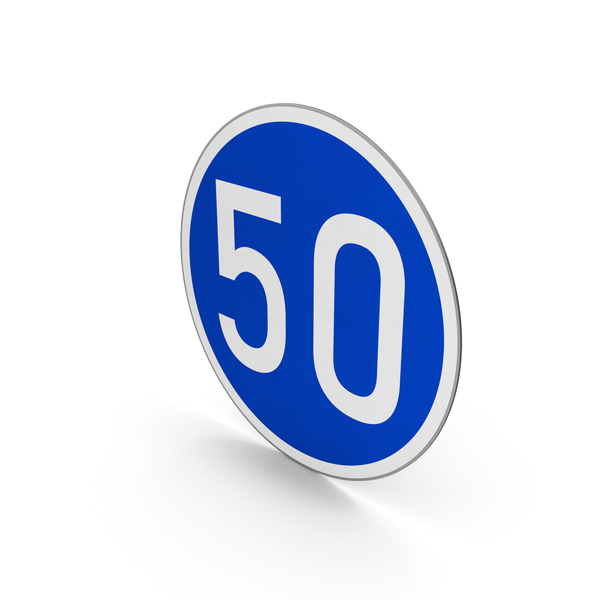 Road Sign Minimum Speed Limit 50 PNG & PSD Images