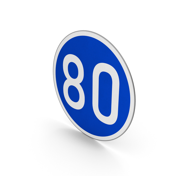 Traffic Signs: Road Sign Minimum Speed Limit 80 PNG & PSD Images