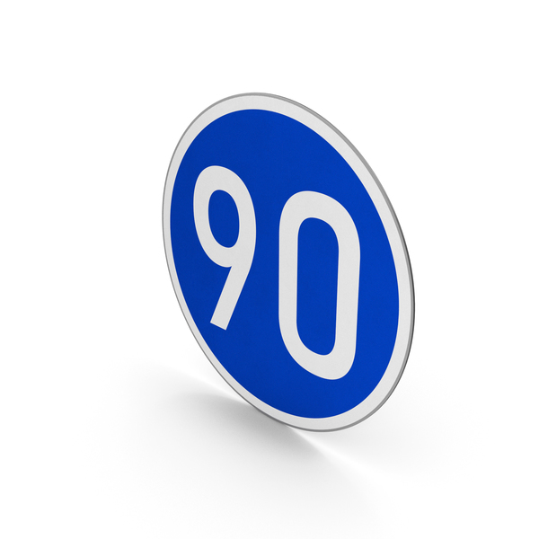 Traffic Signs: Road Sign Minimum Speed Limit 90 PNG & PSD Images