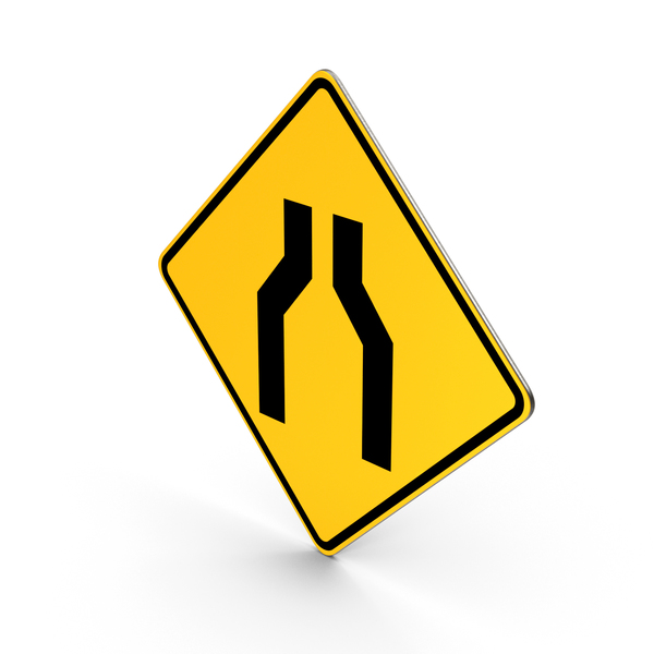 Traffic Signs: Road Sign Road Narrows PNG & PSD Images