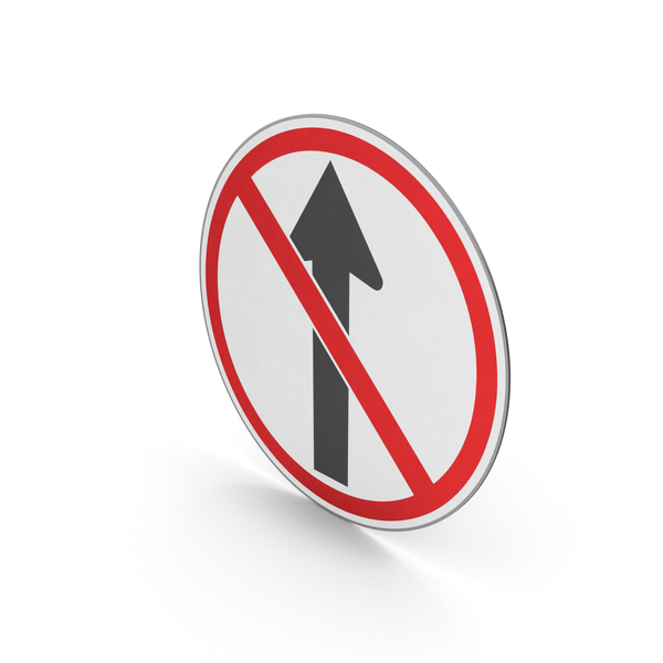 Street Elements: Road Sign No Straight Ahead PNG & PSD Images