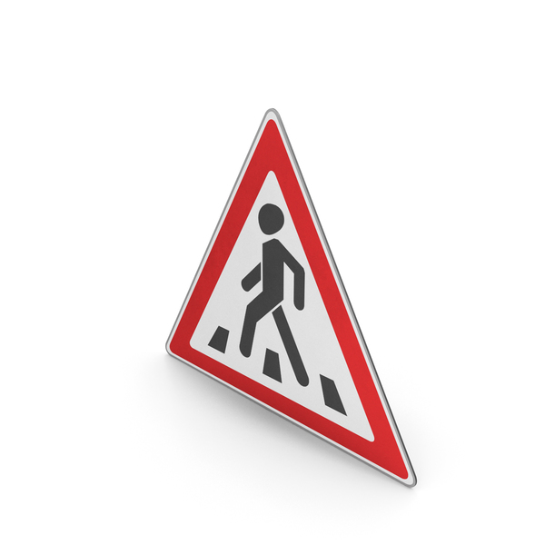 Road Sign Pedestrian Crossing Ahead PNG & PSD Images