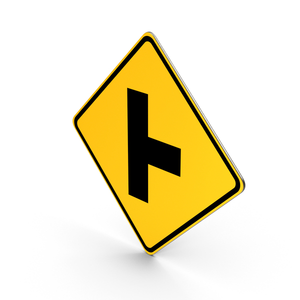 Road Sign Perpendicular Intersection PNG & PSD Images