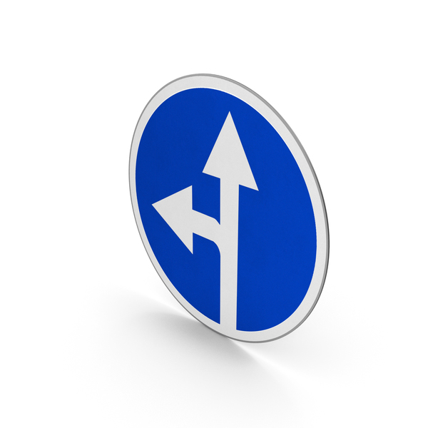 Road Sign Proceed Straight Or Turn Left PNG & PSD Images