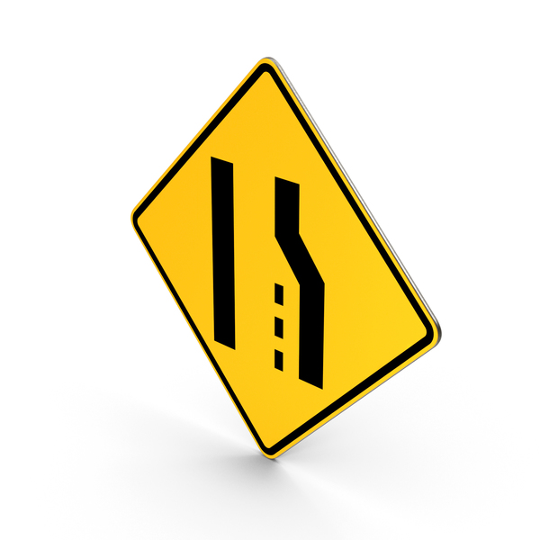 Road Sign Right Lane Ends PNG & PSD Images