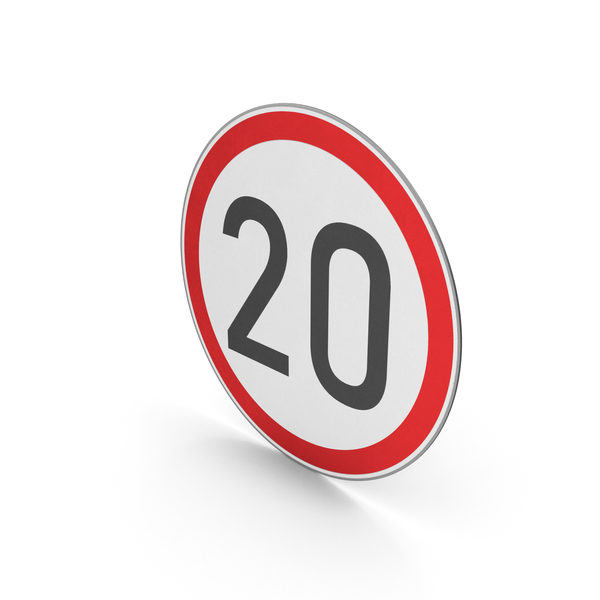 Street Elements: Road Sign Speed Limit 20 PNG & PSD Images