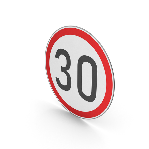 Street Elements: Road Sign Speed Limit 30 PNG & PSD Images