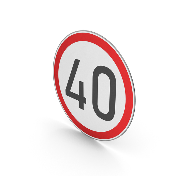 Street Elements: Road Sign Speed Limit 40 PNG & PSD Images