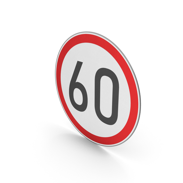 Street Elements: Road Sign Speed Limit 60 PNG & PSD Images