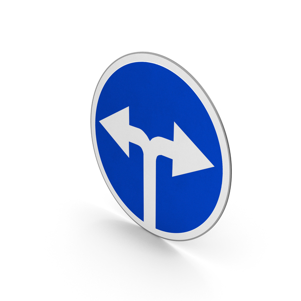 Road Sign Turn Left Or Right PNG & PSD Images