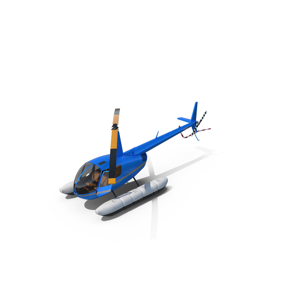 Robinson R44 Helicopter With Floats Object