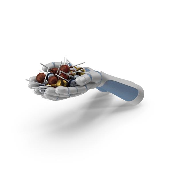 Robo Hands Handful with Fancy Lollipops PNG & PSD Images