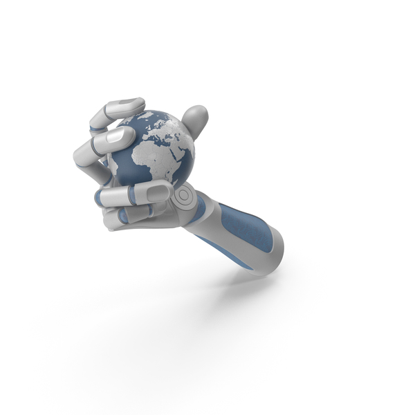 Robohand Grabbing a High Tech Earth PNG & PSD Images