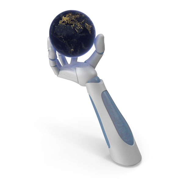 Robohand Holding Tiny Night Earth PNG & PSD Images