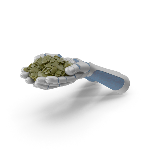Robot Hands Handful with Seeds PNG & PSD Images