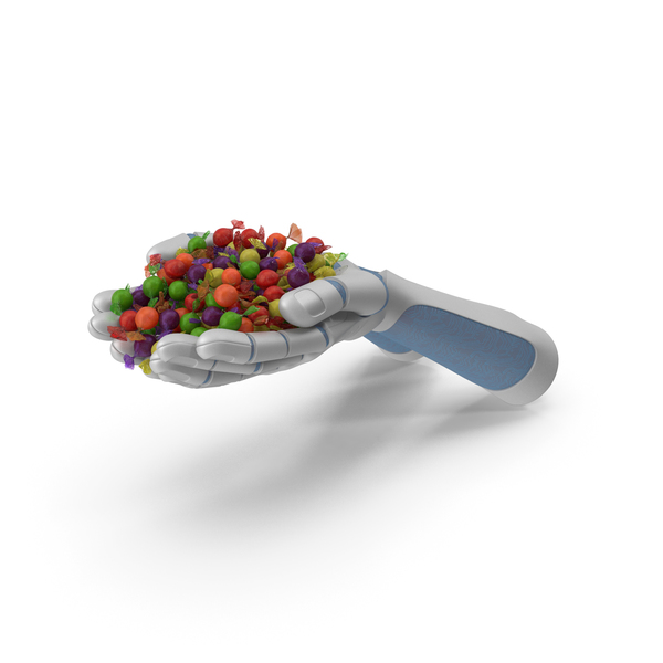 Robot Hands Handful With Wrapped Hard Candy PNG & PSD Images