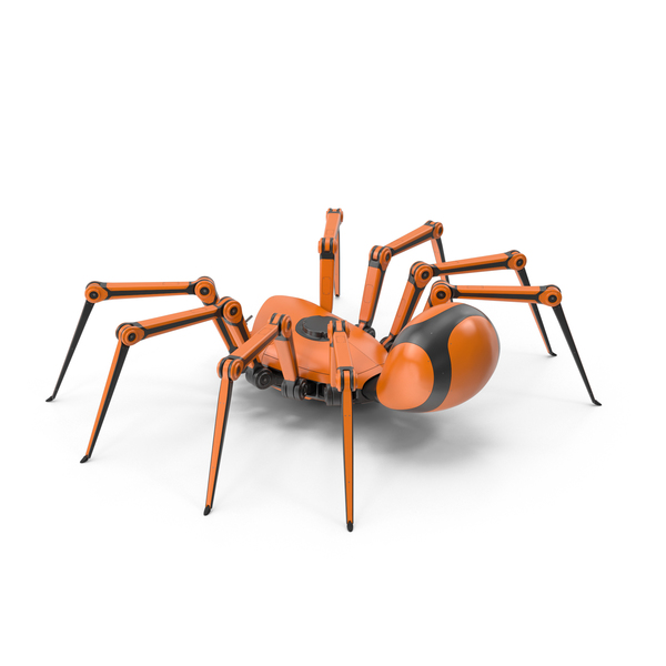 Robot Spider Orange Black PNG & PSD Images