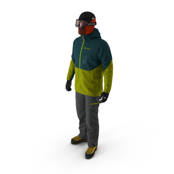Rock Climber Winter Hiking Gear Standing Pose PNG & PSD Images