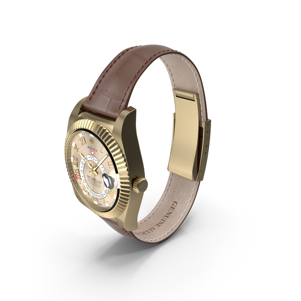 Rolex Sky-Dweller Yellow Gold Leather Strap PNG & PSD Images