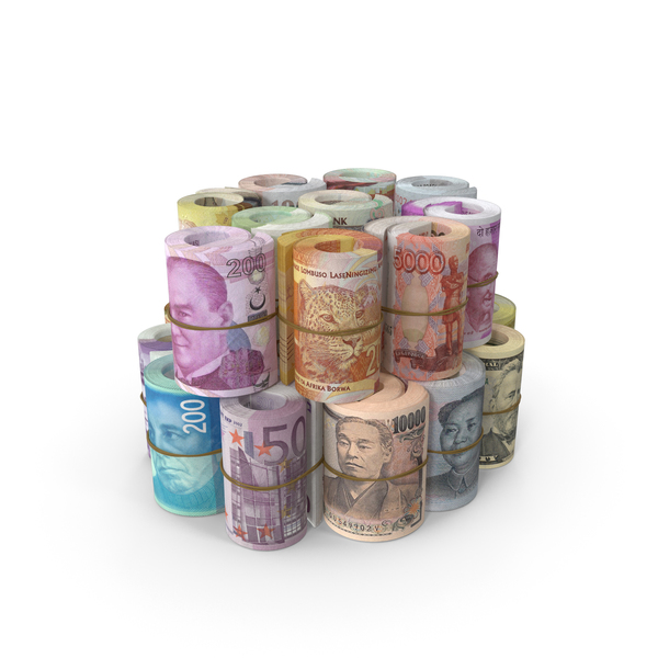 Euro Banknote: Rolls of Banknotes from Different Countries PNG & PSD Images