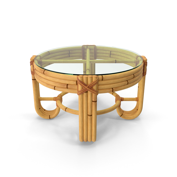Round Bamboo Coffee Table with Glass Top PNG & PSD Images