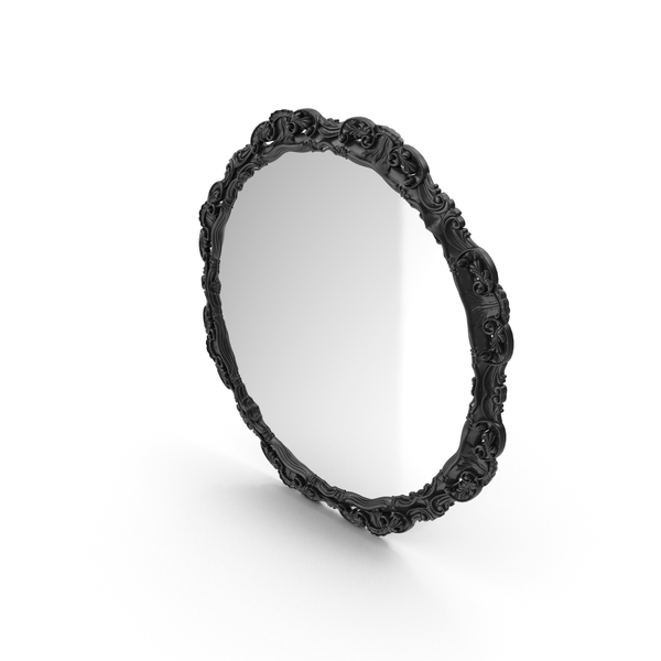 Round Black Baroque Mirror PNG & PSD Images