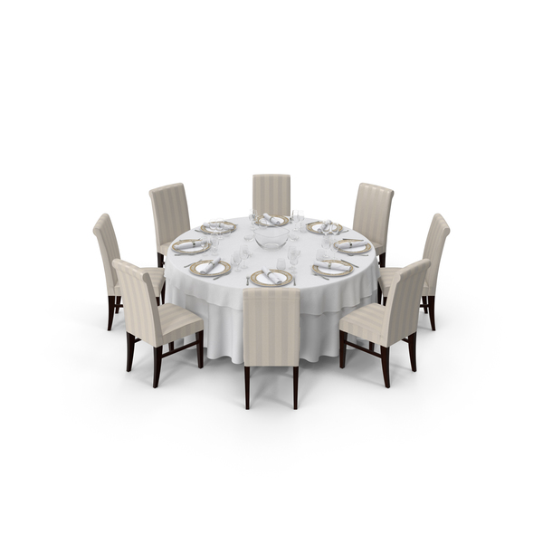 Round Dining Served Table with Chairs PNG & PSD Images