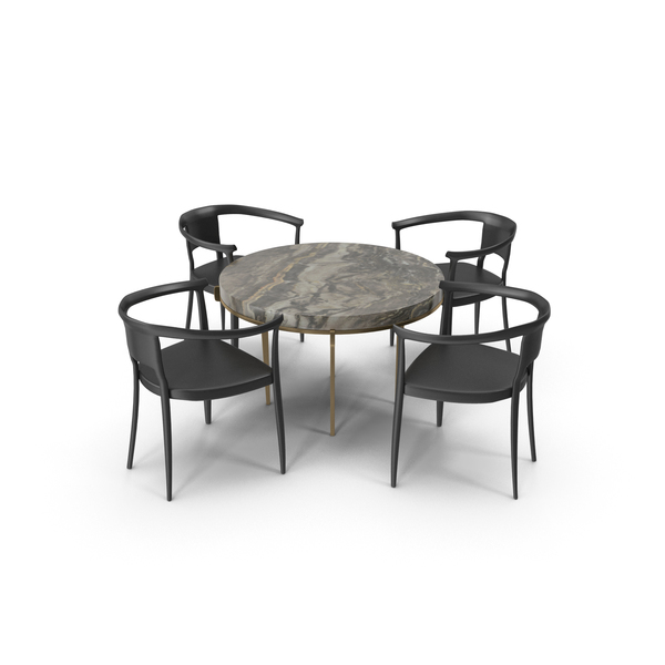Round Dining Table Set PNG & PSD Images