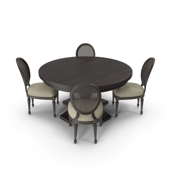 Round Dining Table Set for 4 Persons PNG & PSD Images