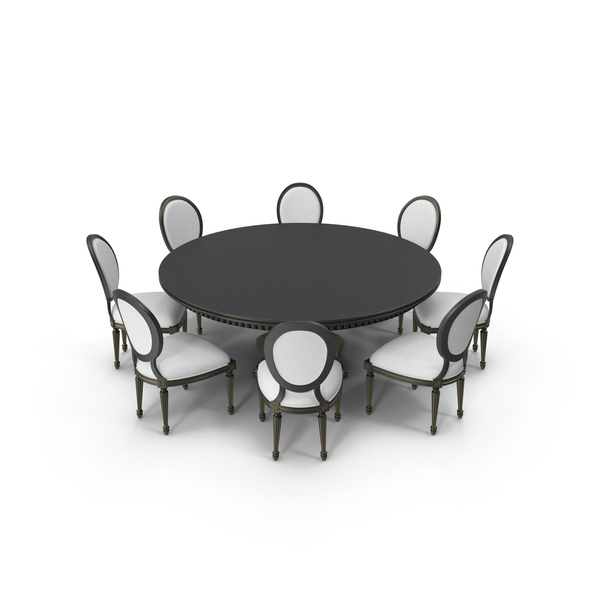 Round Dining Table Set for 8 Persons PNG & PSD Images