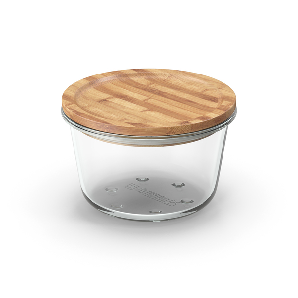 Round Glass Food Storage Container with Bamboo Lid 600ml PNG & PSD Images