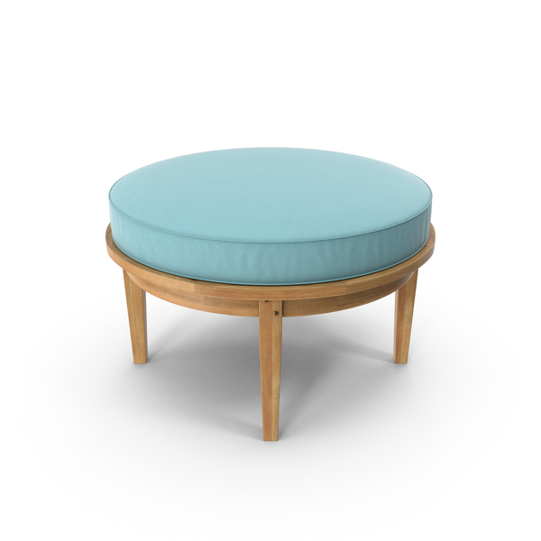 Round Outdoor Ottoman Teal Object