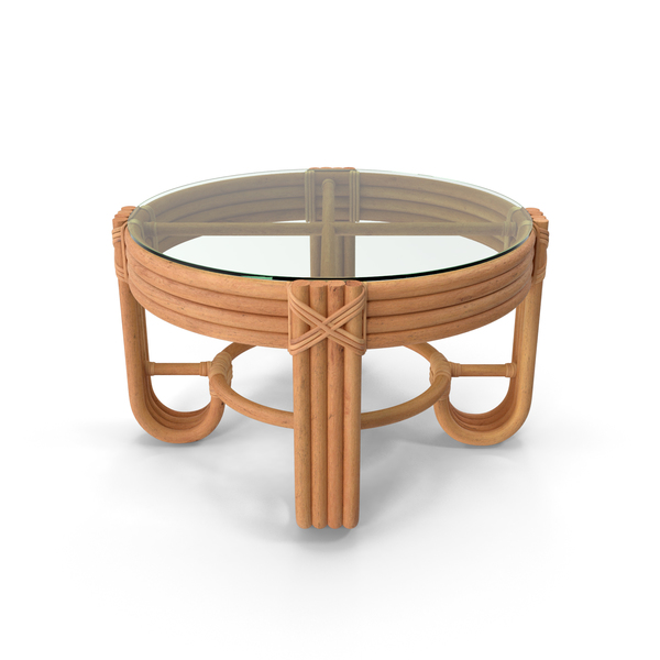 Round Rattan Coffee Table with Glass Top PNG & PSD Images