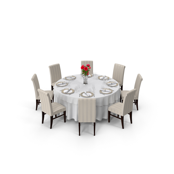 Chair: Round Restaurant Table Served With 8 Chairs PNG & PSD Images