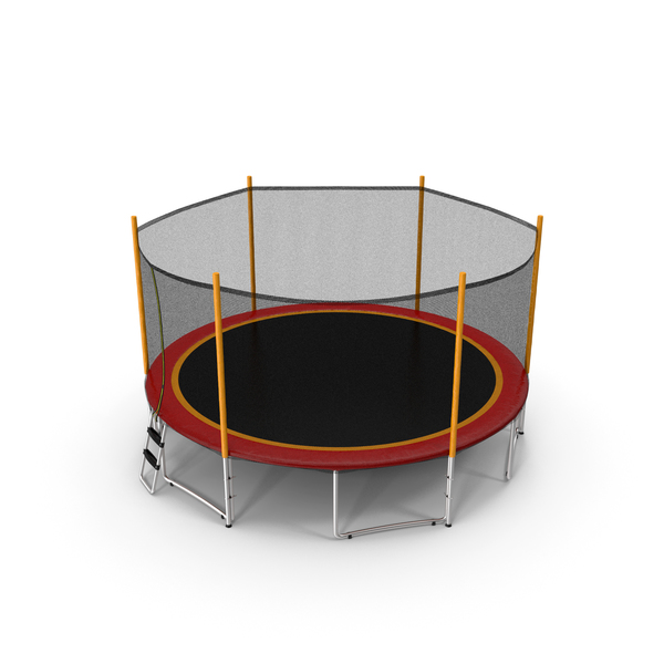 Round Trampoline with Safety Enclosure PNG & PSD Images