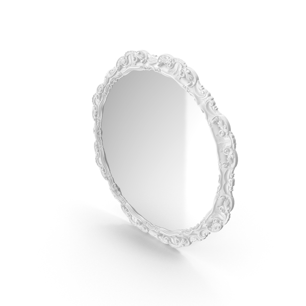 Round White Baroque Mirror PNG & PSD Images
